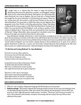 The Poetry of Anne Bradstreet (Printable Worksheet)