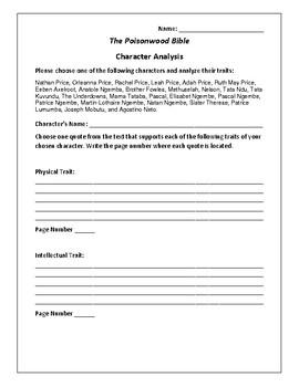poisonwood bible character analysis essay