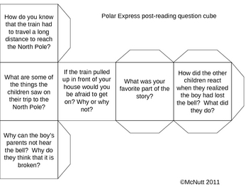 The Polar Express Reading Question Cube