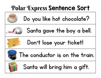 The Polar Express Sentence Sort:  Sort the cards to make sentences!