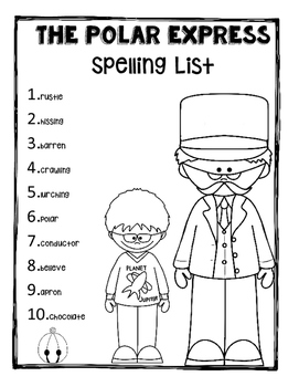 The Polar Express Spelling List- Grades 3-4