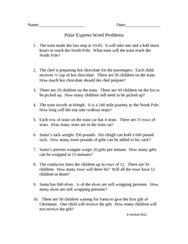 The Polar Express Word Problems for upper grades