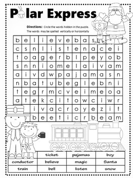 The Polar Express Word Search Pack 3 Levels By Windup