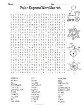 Polar Express Word Search Puzzles