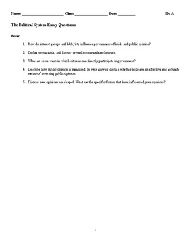 The Political System Discussion/Essay Questions