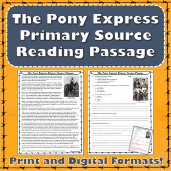 The Pony Express Reading Passage - Westward Expansion