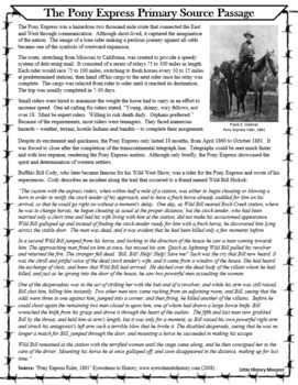 The Pony Express Primary Source Reading Passage - Westward Expansion