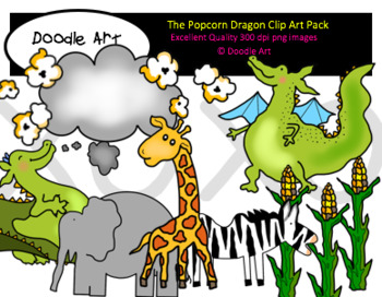 The Dragon Loves Popcorn Clipart Pack
