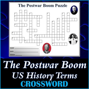 The Postwar Boom US History Crossword Puzzle Activity Worksheet