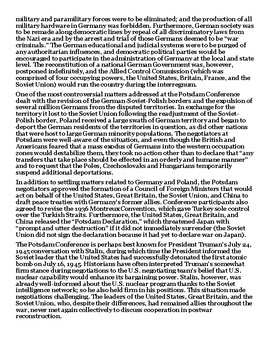 The Potsdam Conference 1945 Article with Summary Assignment