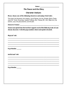The Power and the Glory Character Analysis Activity - Graham Greene