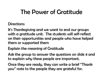 The Power of Gratitude- Thanksgiving activities for groups