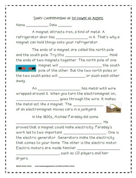 The Power of Magnets Mini Pack Activities 3rd Grade Journeys Unit 6, Lesson 27