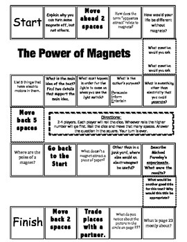 """The Power of Magnets"" Comprehension Game Board- Journeys story 3rd grade"