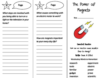 The Power of Magnets Trifold - Journeys 3rd Grade Unit 6 Week 2 (2011)