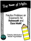 The Power of Math: Exponent Worksheets
