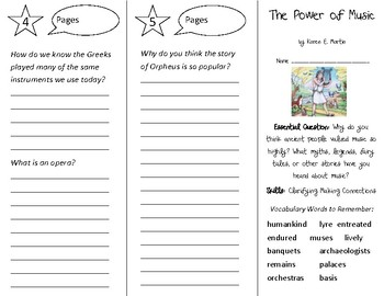 The Power of Music Trifold - Open Court 3rd Grade Unit 6 Lesson 1