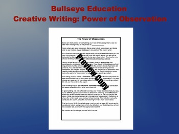 The Power of Observation Creative Writing