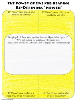 The Power of One Anticipation Activities Novel Study Resource for Google Drive