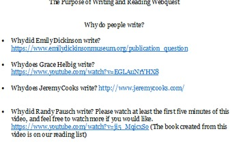 The Power of Reading and Writing Webquest