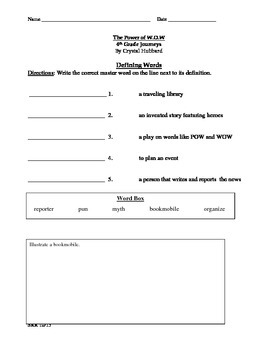 Journeys Common Core 4th - The Power of W.O.W. Supplemental Packet for the SLP