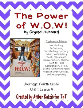 The Power of W.O.W.! Activities 4th Grade Journeys Unit 1,