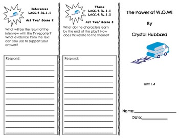 The Power of W.O.W. Common Core Trifold/ Journeys Houghton Mifflin Harcourt