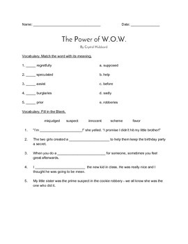 """The Power of W.O.W."" QUIZ (Journeys Grade 4 Reader)"