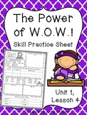 The Power of W.O.W.! (Skill Practice Sheet)