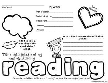 The Power of Words: Word Work Graphic Organizers
