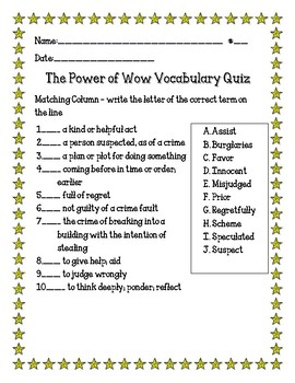 The Power of Wow Vocabulary Quiz