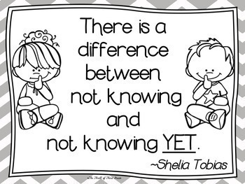 The Power of YET (Growth Mindset) Posters--BLACK & WHITE VERSION--COLORING PAGES