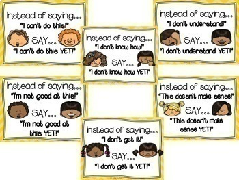 The Power of YET (Growth Mindset Way of Thinking) Poster Set--Bulletin Board Set