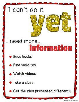 The Power of Yet Growth Mindset Posters and Activity