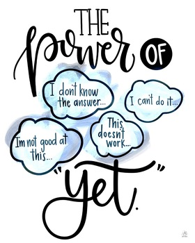 """The Power of """"Yet"""" Growth Mindset Printable"""