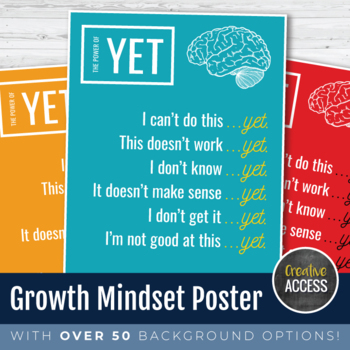 """Growth Mindset """"The Power of Yet"""" High Resolution Printabl"""