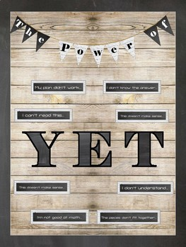 The Power of Yet (Shiplap and Chalkboard) Bulletin Board - Growth Mindset