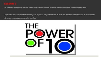 The Powers of 10 Exponent Review and Decimal Introduction (Spanish and English)