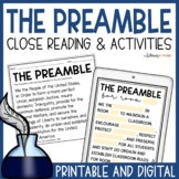 The Preamble Close Reading, Task Cards, Class Preamble, & Exit Tickets!