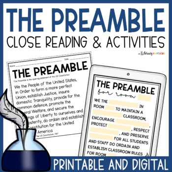 The Preamble: Close Reading, Task Cards and More!