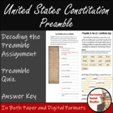 The Preamble to the U.S. Constitution Vocabulary Activity with Quiz Included
