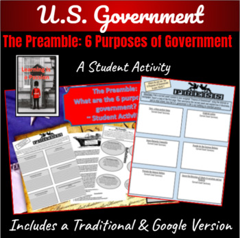 The Preamble: What are the 6 purposes of Government Student Activity