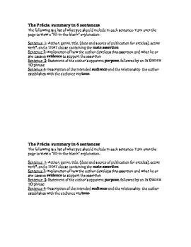 The Précis - a concise analytical paragraph in 4 sentences