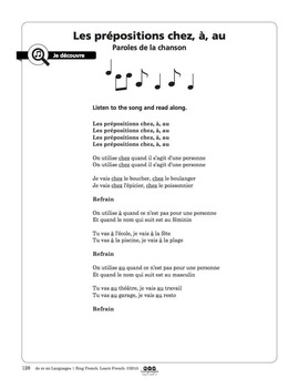 French Prepositions chez, à, au - Song and Writing Activities