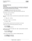 The Present Participle -ing Worksheet