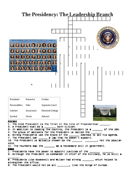 US Government: The Presidency Crossword or Web Quest