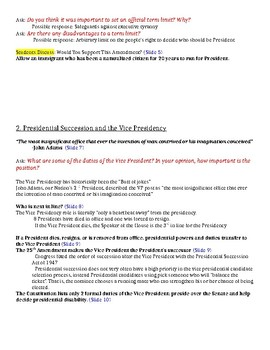 The Presidency - Powerpoint Presentation Notes