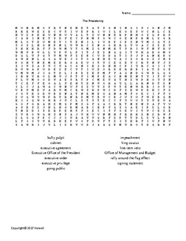 The Presidency Vocabulary Word Search for American Government