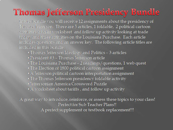 The Presidency of Thomas Jefferson Bundle