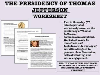 The Presidency of Thomas Jefferson - US History/APUSH - Co